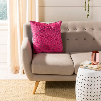 Poitra Embroidered Throw Pillow Color: Magenta