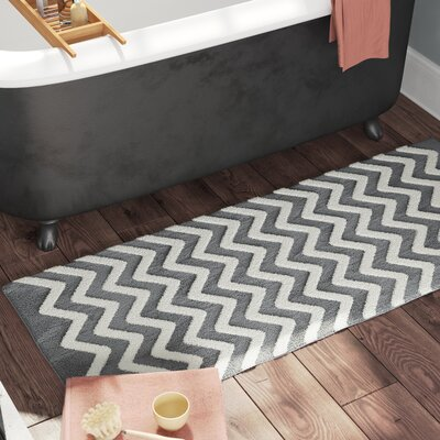 Doyle Chevron Cotton Bath Mat Color: Silver