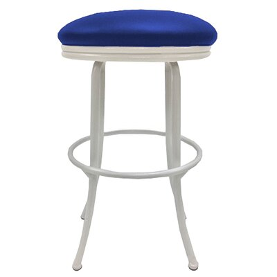 Podington 26 Swivel Bar Stool Frame Color: White, Seat Color: Blue
