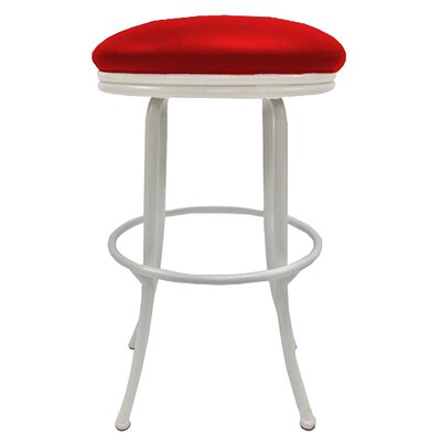 Podington 26 Swivel Bar Stool Frame Color: White, Seat Color: Fire Red