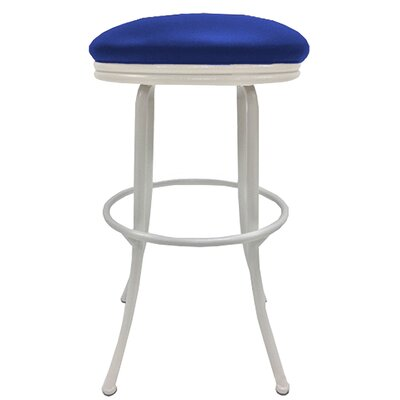 Podington 33 Swivel Bar Stool Frame Color: White, Seat Color: Blue