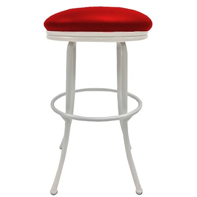 Podington 33 Swivel Bar Stool Frame Color: White, Seat Color: Fire Red