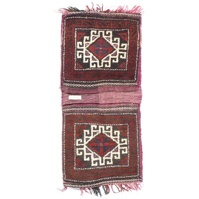 Persian Shiraz Saddle Bag Hand-Woven Wool Red Area Rug