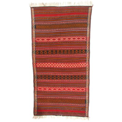 Persian Shiraz Hand-Woven Wool Red Area Rug