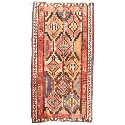 Russian Kazak Hand-Woven Wool Pink/Beige Area Rug