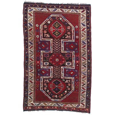 Russian Kazak Hand-Woven Wool Red Area Rug