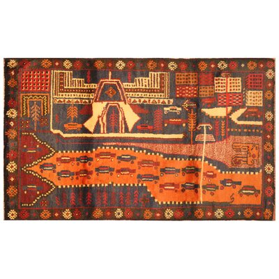 One-of-a-Kind Barlowe War Hand-Woven Wool Navy/Red Area Rug