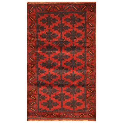 One-of-a-Kind Barlowe Hand-Woven Wool Red/Navy Area Rug