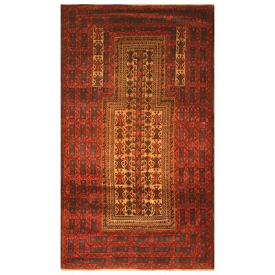 One-of-a-Kind Barlowe Hand-Woven Wool Tan/Red Area Rug