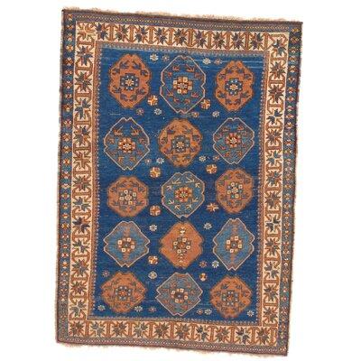 Russian Kazak Hand-Woven Wool Brown/Blue Area Rug