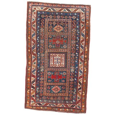 Russian Shirvan Hand-Woven Wool Rust Area Rug