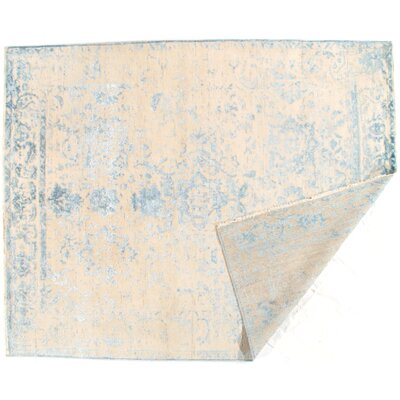 Hand-Woven Cream/Light Blue Area Rug