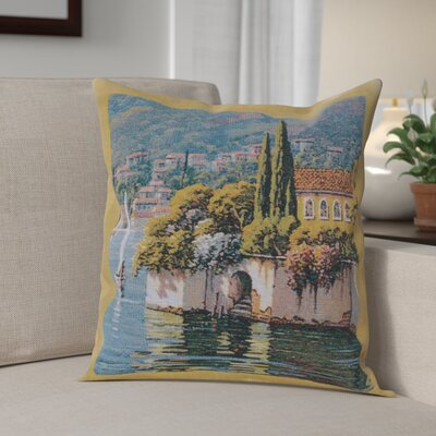 Campas Reflections Village Left Cotton Pillow Cover