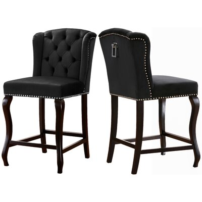 Lawrence Hill 27.5 Bar Stool Upholstery Color: Black