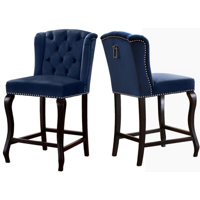 Lawrence Hill 27.5 Bar Stool Upholstery Color: Navy