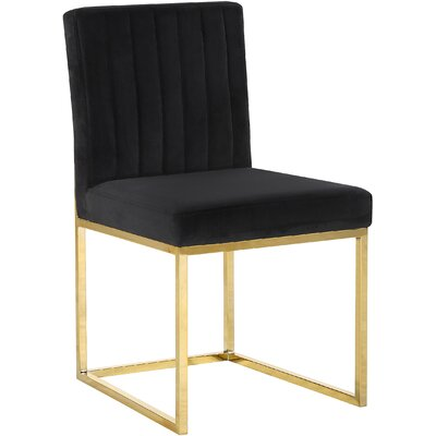 Barclay Upholstered Dining Chair Upholstery Color: Black, Leg Color: Gold
