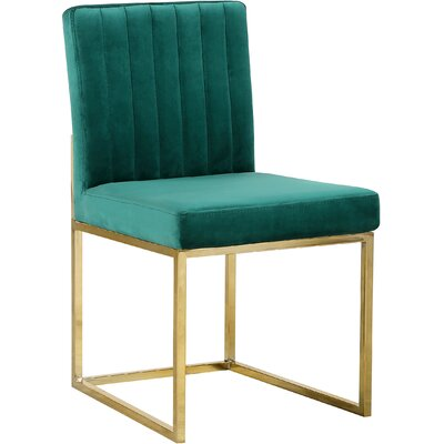 Barclay Upholstered Dining Chair Upholstery Color: Green, Leg Color: Gold