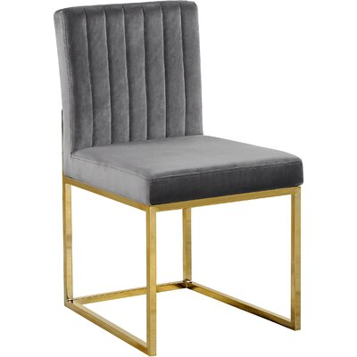Barclay Upholstered Dining Chair Upholstery Color: Gray, Leg Color: Gold
