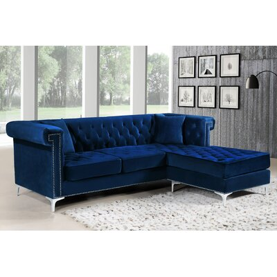 Baity Reversible Sectional Upholstery: Navy