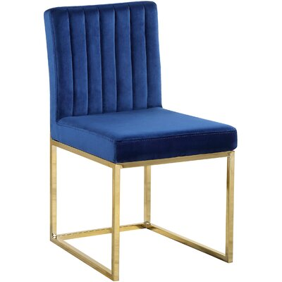 Barclay Upholstered Dining Chair Upholstery Color: Navy, Leg Color: Gold