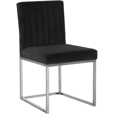 Barclay Upholstered Dining Chair Upholstery Color: Black, Leg Color: Silver