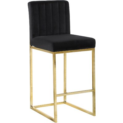 Barclay 26 Bar Stool Upholstery Color: Black, Leg Color: Gold