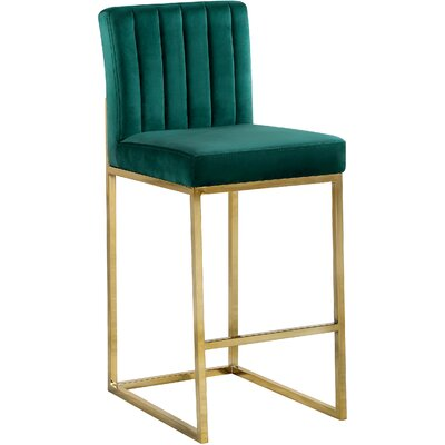 Barclay 26 Bar Stool Upholstery Color: Green, Leg Color: Gold