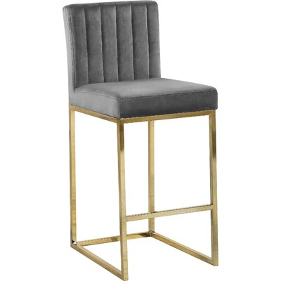 Barclay 26 Bar Stool Upholstery Color: Gray, Leg Color: Gold