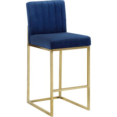Barclay 26 Bar Stool Upholstery Color: Navy, Leg Color: Gold
