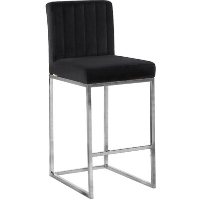 Barclay 26 Bar Stool Upholstery Color: Black, Leg Color: Silver
