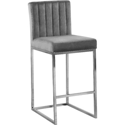 Barclay 26 Bar Stool Upholstery Color: Gray, Leg Color: Silver