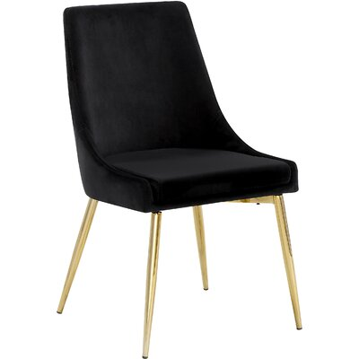 Paluch Upholstered Dining Chair Upholstery Color: Black, Leg Color: Silver
