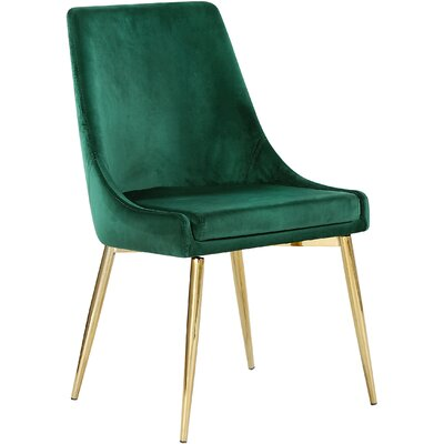 Paluch Upholstered Dining Chair Upholstery Color: Green, Leg Color: Gold