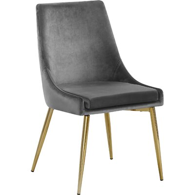 Paluch Upholstered Dining Chair Upholstery Color: Gray, Leg Color: Gold