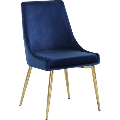 Paluch Upholstered Dining Chair Upholstery Color: Navy, Leg Color: Gold