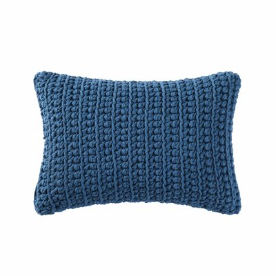Gamboa Knitted Cotton Lumbar Pillow Color: Blue