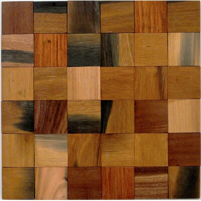 "Driftwood Blocks 2"" X 2"" Wood Mosaic Tile In Brown"