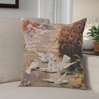 Cambrie Peacock & Doves Cotton Pillow Cover