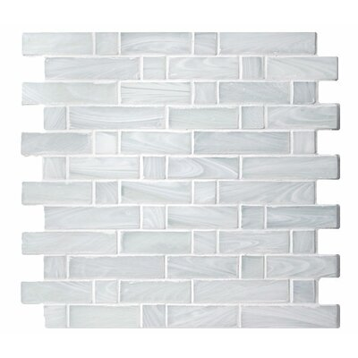 Homespun Flannel Dorset Random Sized Glass Mosaic Tile in White