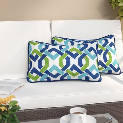 Grassmere Indoor/Outdoor Lumbar Pillow Color: Lagoon, Size: 11.5 H x 18.5 W
