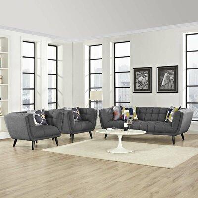 Seneca 3 Piece Living Room Set Color: Dark Gray