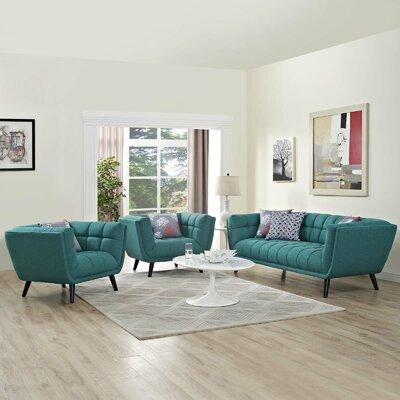 Seneca 3 Piece Living Room Set Color: Teal