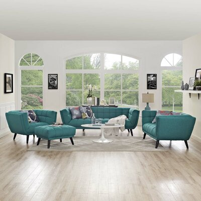 Seneca 3 Piece Living Room Set Color: Teal