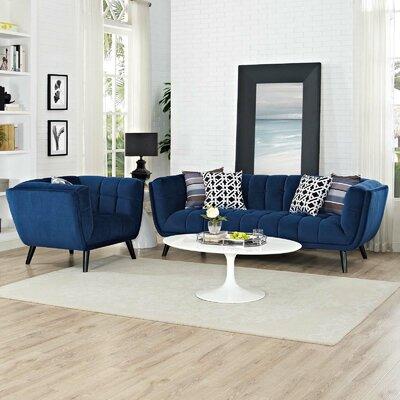 Seneca 2 Piece Living Room Set Color: Navy