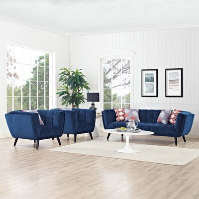 Seneca 3 Piece Living Room Set Color: Navy