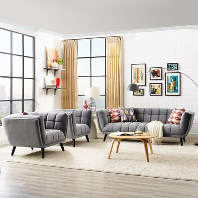 Seneca 3 Piece Living Room Set Color: Light Gray