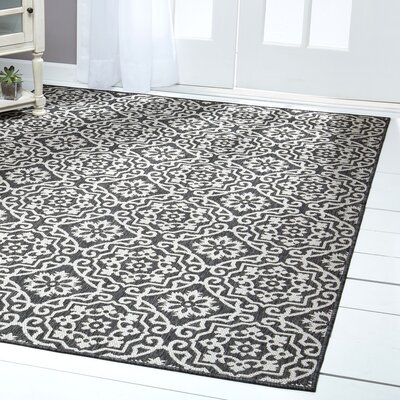 Tiled Black/Gray Indoor/Outdoor Area Rug Rug Size: Rectangle 52 x 72