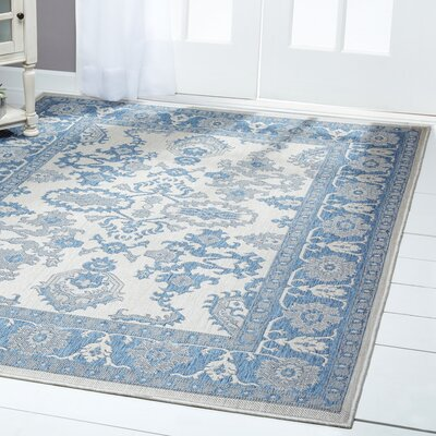Bordered Gray/Blue Indoor/Outdoor Area Rug Rug Size: Rectangle 52 x 72