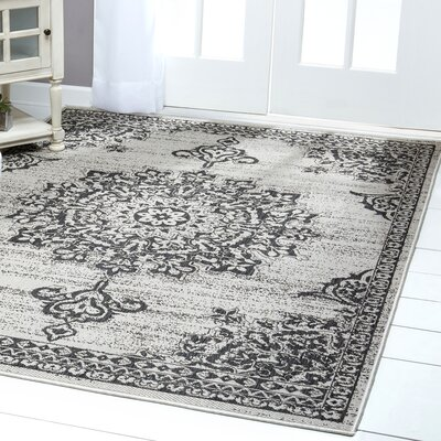 Medallion Gray/Black Indoor/Outdoor Area Rug Rug Size: Rectangle 52 x 72
