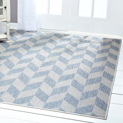 Geometric Blue/Gray Indoor/Outdoor Area Rug Rug Size: Rectangle 79 x 102